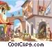 Roman street scene Vector Clipart picture