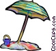 Beach umbrella with pail and Vector Clip Art image