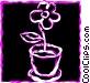 Flower Pots Vector Clipart picture