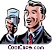 man holding a glass Vector Clip Art image