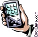 Hand held computer day timer Vector Clip Art image