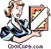 woman with a box of laundry Vector Clip Art graphic