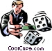 Man rolling the dice/risk Vector Clipart picture