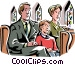family sitting in church Vector Clipart picture