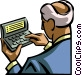 Businessman using a digital organizer Vector Clip Art picture