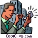Businessman working with a PDA Vector Clip Art graphic