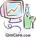 champagne and computer monitor Vector Clipart illustration