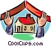 Insurance coverage on a house Vector Clipart illustration