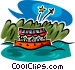 boat ride and fireworks Vector Clip Art image
