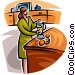 woman pouring a glass of juice Vector Clipart image