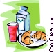 milk glass and two croissants Vector Clipart picture