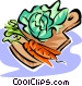 vegetables on a cutting board Vector Clip Art graphic