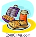 waffles and a waffle iron Vector Clipart illustration