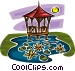 gazebo in a pond Vector Clip Art graphic