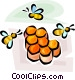 honeybee and honeycomb Vector Clipart illustration