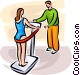 Woman on an exercising machine Vector Clipart illustration