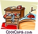 chest of drawers in a bedroom Vector Clip Art graphic