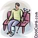 person with a broken leg Vector Clipart image