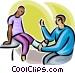 doctor examining a broken foot Vector Clipart graphic