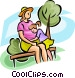 pregnant woman with a young Vector Clipart illustration