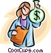 woman with a bag of money Vector Clip Art graphic