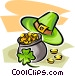 Pot of gold with clover and hat Vector Clipart picture