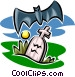 gravestone and bat Vector Clip Art picture