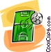 soccer field and ball Vector Clipart illustration
