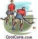field hockey players Vector Clipart illustration