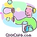 child blowing bubbles Vector Clip Art image