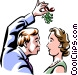 looking for a kiss under the mistletoe Vector Clipart graphic