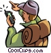 hiker looking at his GPS for Vector Clipart picture