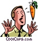 man being led by a carrot on a Vector Clipart picture