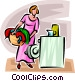 woman doing laundry Vector Clipart graphic