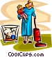 housework and looking after children Vector Clip Art image