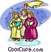 Christmas carolers Vector Clip Art image