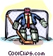 man in nets with goalie Vector Clip Art picture