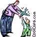 father handing a toy plane to Vector Clipart graphic