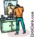man brushing his teeth Vector Clipart image