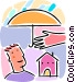 Man with an umbrella, home insurance concept Vector Clip Art image