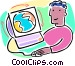 surfing the internet Vector Clip Art graphic