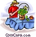 woman arranging a basket of Vector Clip Art image