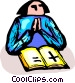 woman reading the Bible and Vector Clip Art image
