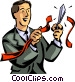 businessman cutting through Vector Clip Art graphic