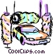 Car going through the wash Vector Clipart image