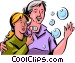 Blowing Bubbles Vector Clip Art graphic