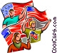 people waving American flags Vector Clip Art image