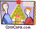 Mother giving her son a Christmas gift Vector Clipart illustration