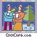 Man and a woman singing Vector Clipart picture