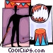 Circus performer with flaming Vector Clip Art graphic